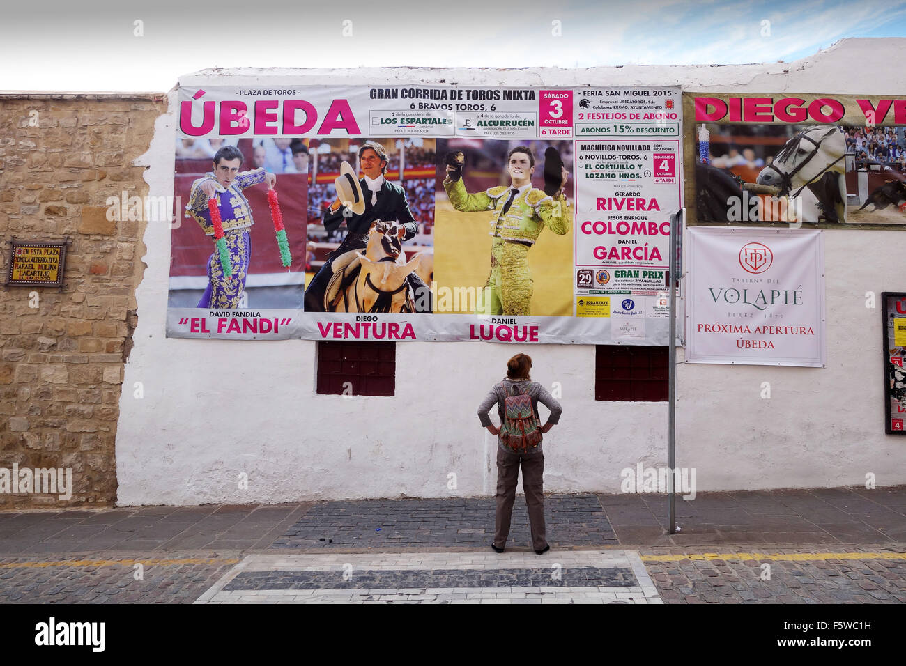 Advert marketing advertising bull fight in Ubeda Andalusia Spain - Stock Image
