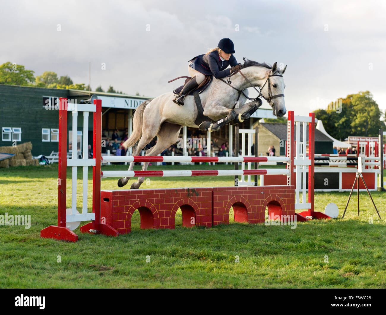 Showjumping competition at Nidderdale Show, North Yorkshire, UK, September 2015 - Stock Image