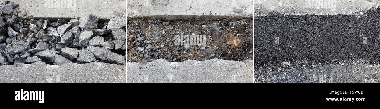 Road construction site, old demolished and new asphalt patch - Stock Image