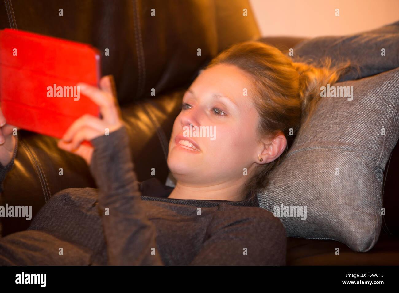 woman using digital tablet computer - Stock Image