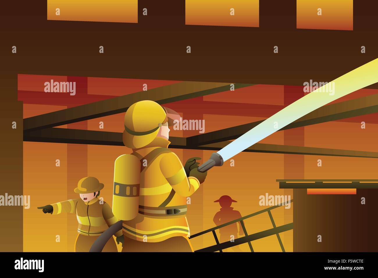 A vector illustration of firefighters putting out the building on fire - Stock Vector