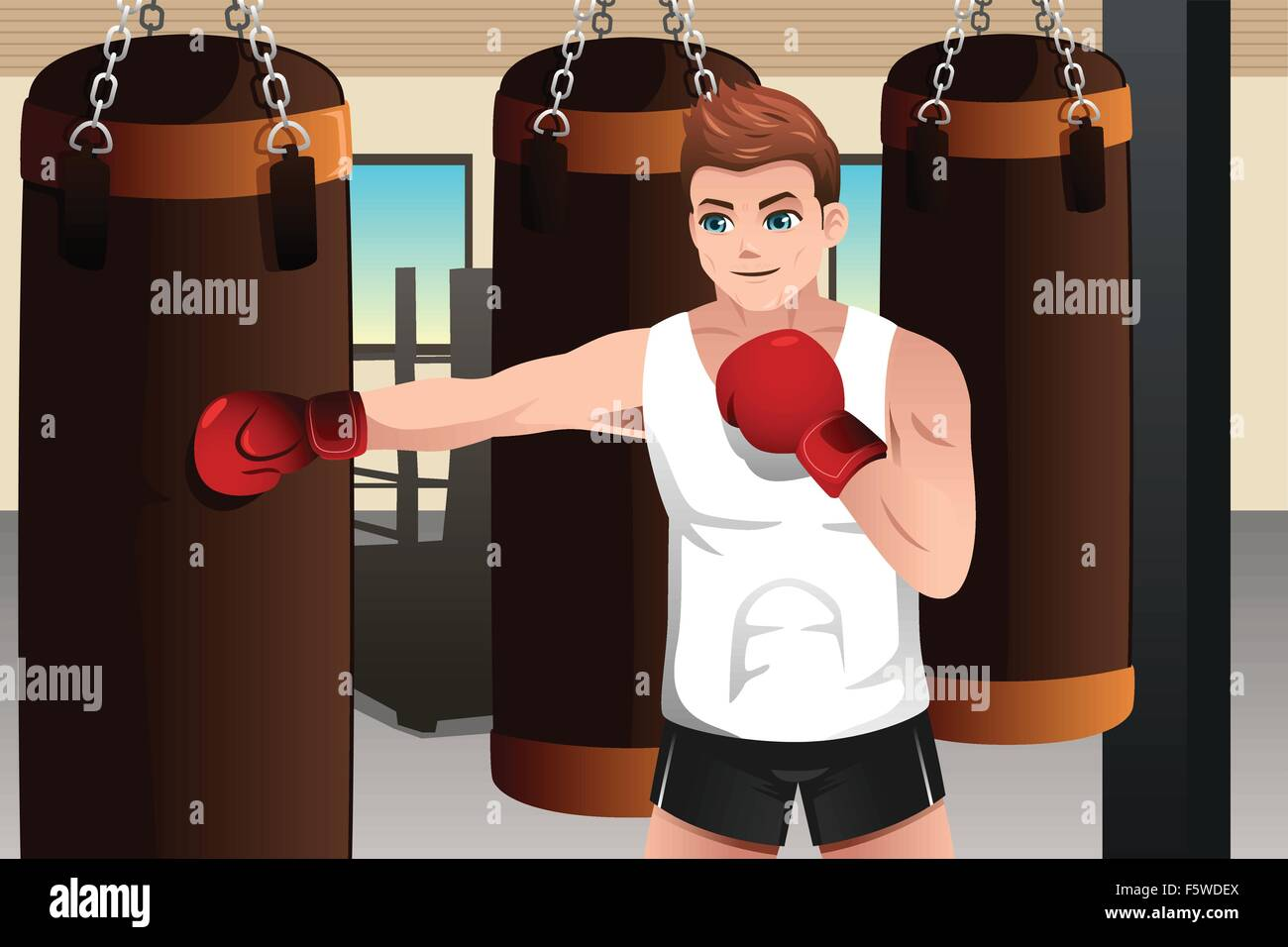 A vector illustration of boxer training on a punching bag in the gym - Stock Vector