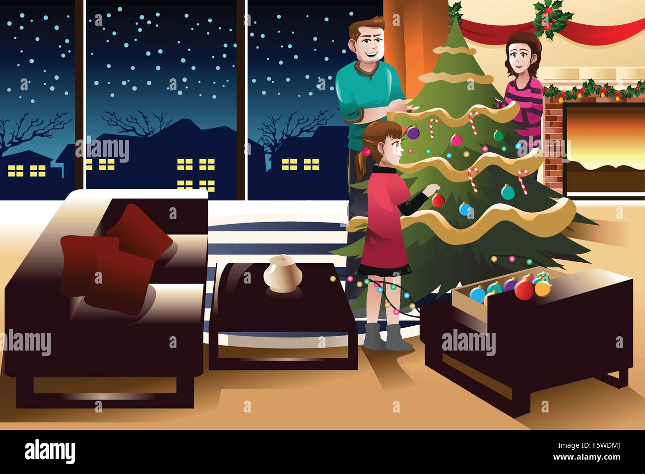 A vector illustration of happy family decorating Christmas tree together - Stock Vector