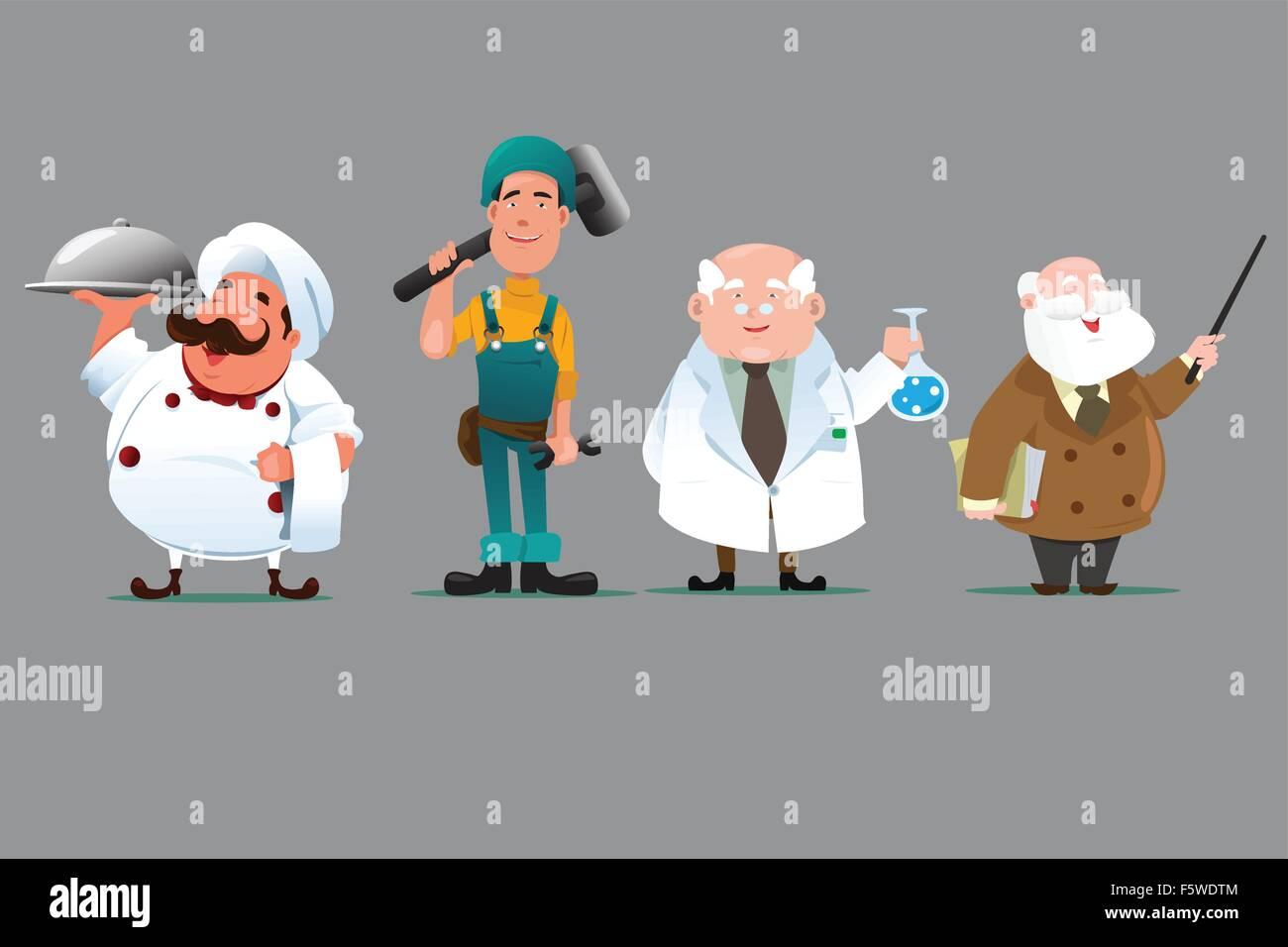 A vector illustration of a chef, builder, chemist and teacher - Stock Vector