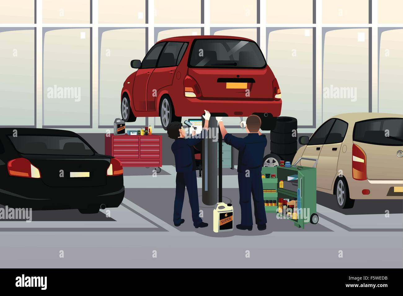 Cartoon car auto repair garage stock photos cartoon car for Garage auto galon