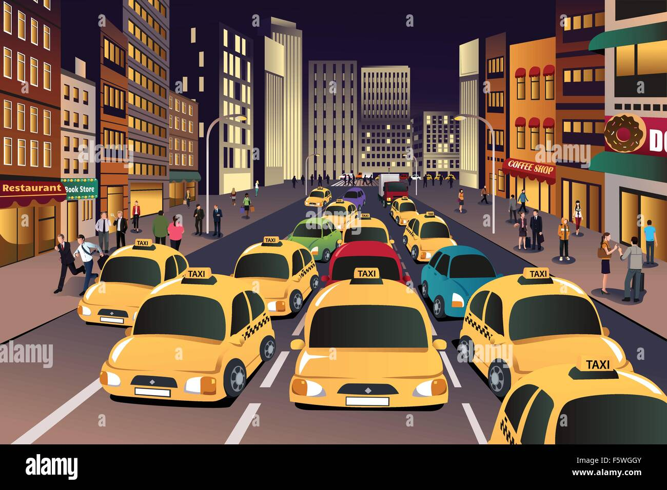 A vector illustration of busy city in the evening - Stock Vector
