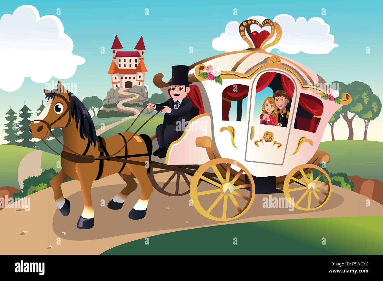 A vector illustration of prince and princess in a horse pulled wagon - Stock Image