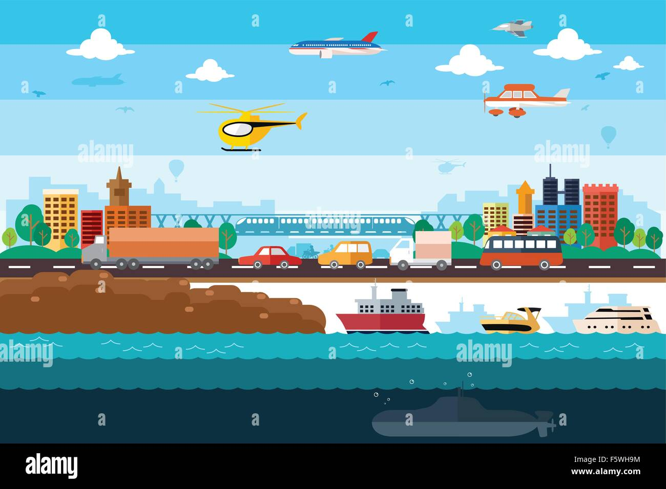 A vector illustration of different transportation in the city - Stock Vector
