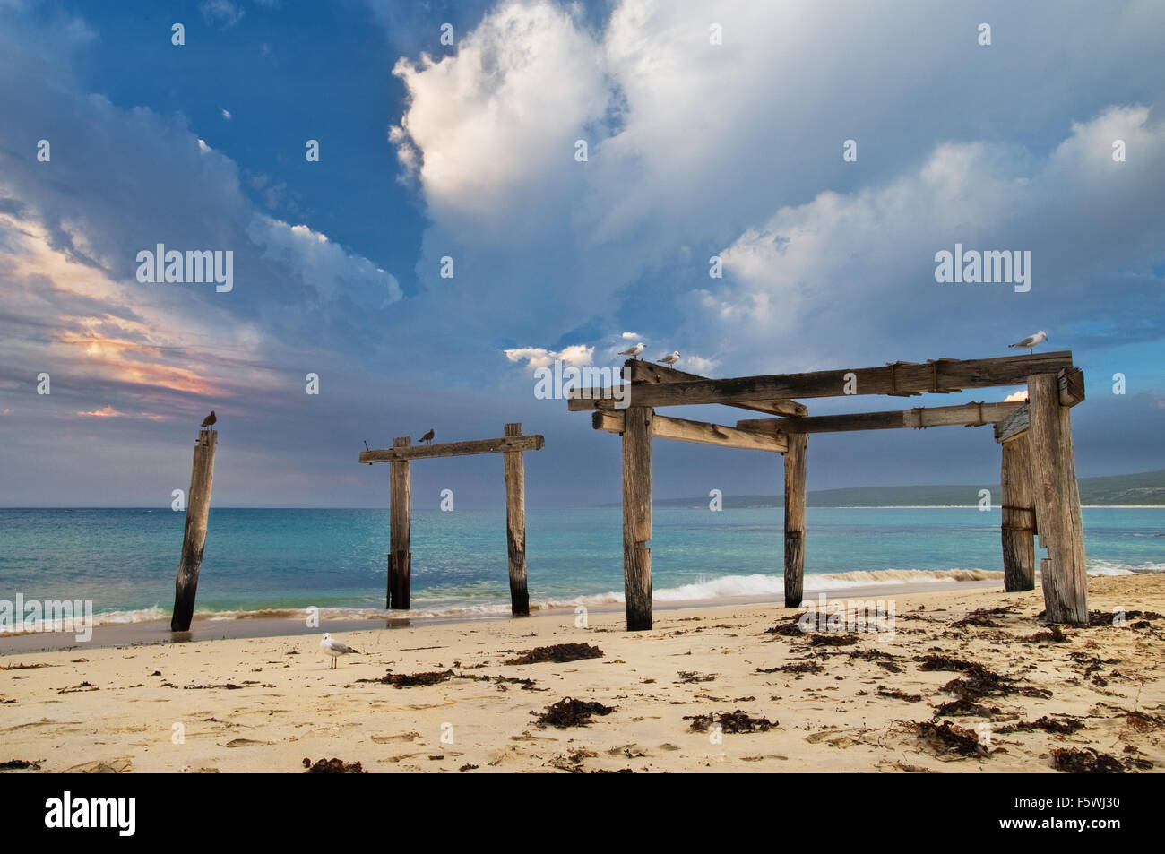 Remains of a historic jetty at Hamelin Bay. - Stock Image