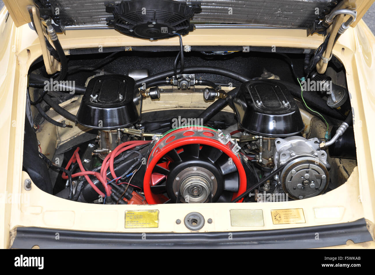 An Air Cooled Engine in a 911 Porsche. - Stock Image