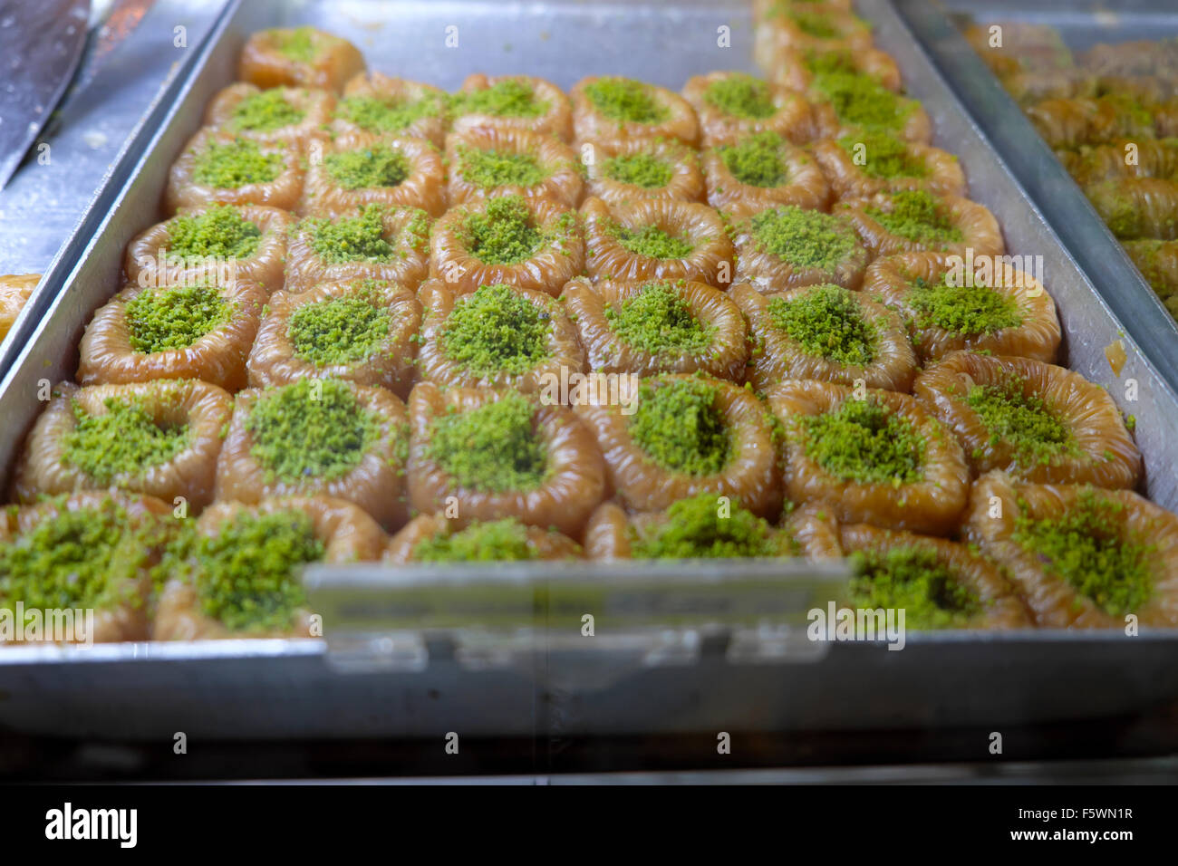 Fig and pistachio sweets at Petek Pastanesi Patisserie Confectioner shop and restaurant in Famagusta North Cyprus - Stock Image