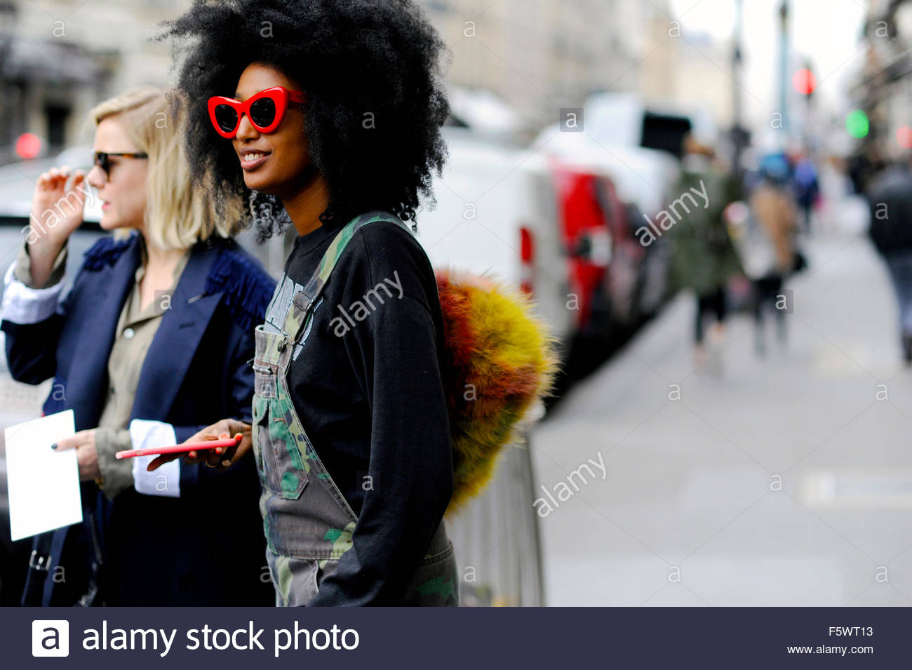 Julia Sarr-Jamois after Stella McCartney ready to wear fashion show Rue Scribe, Paris Fashion Week 2015. - Stock Image
