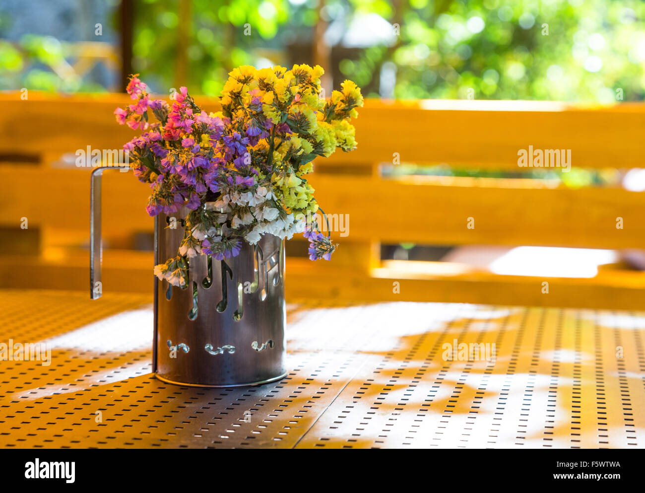 Bouquet of dried flowers in a cup Stock Photo