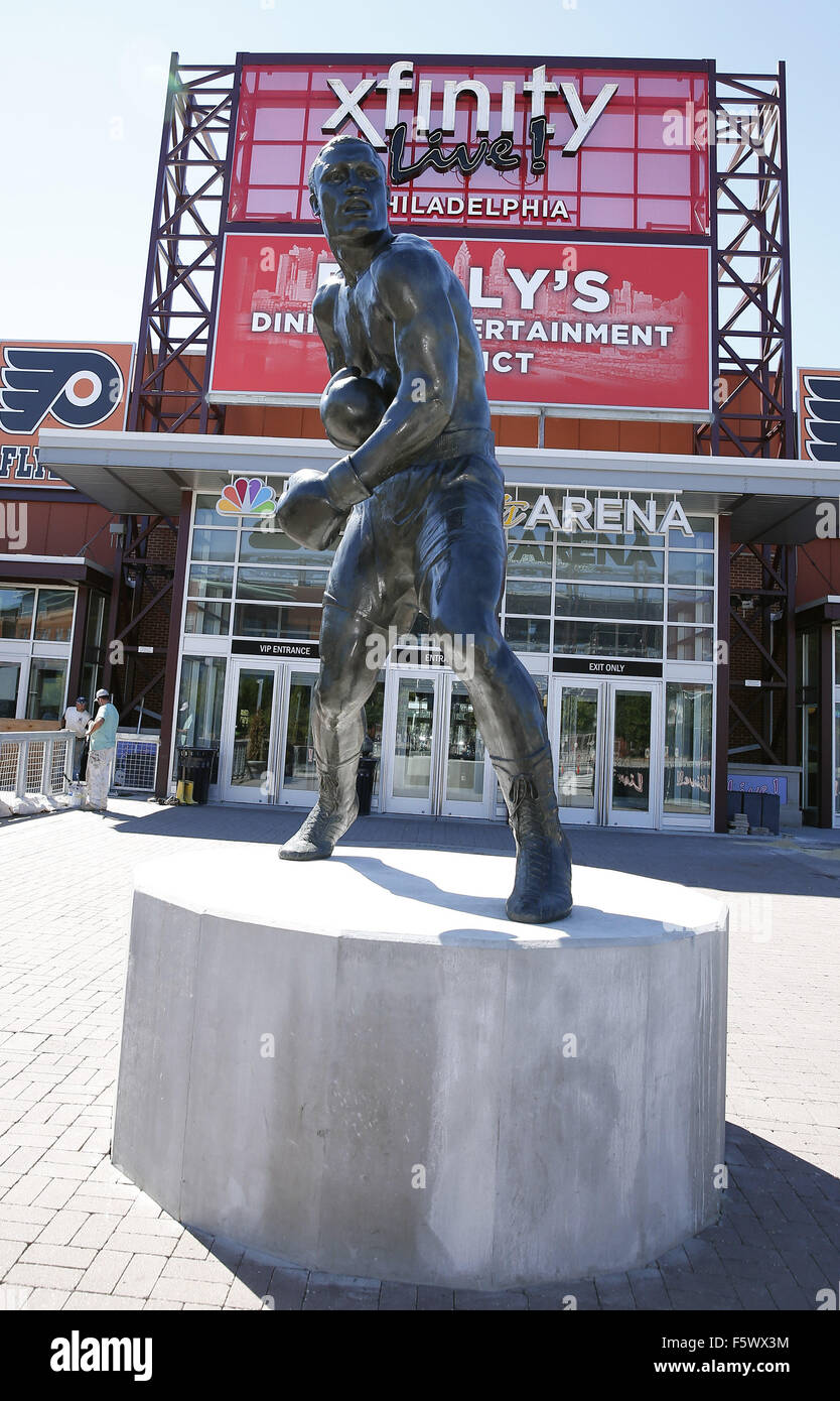 Boxing Great Joe Frazier Immortalized With Bronze Statue at Xfinity Live in South Philadelphia, PA  Featuring: Joe - Stock Image