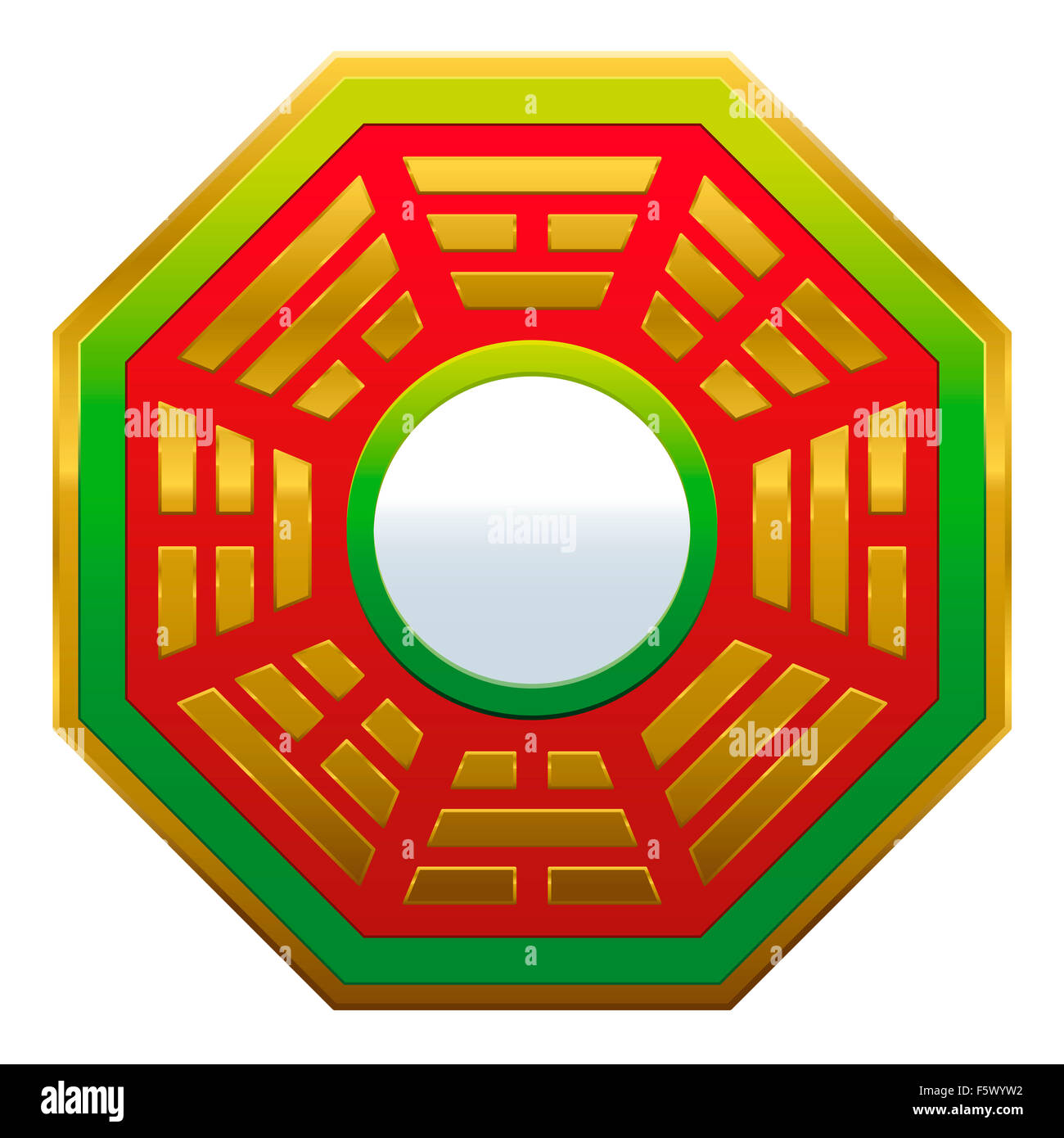 Bagua Mirror Feng Shui - powerful cure to protect against negative energy and create good fortune and harmony. - Stock Image