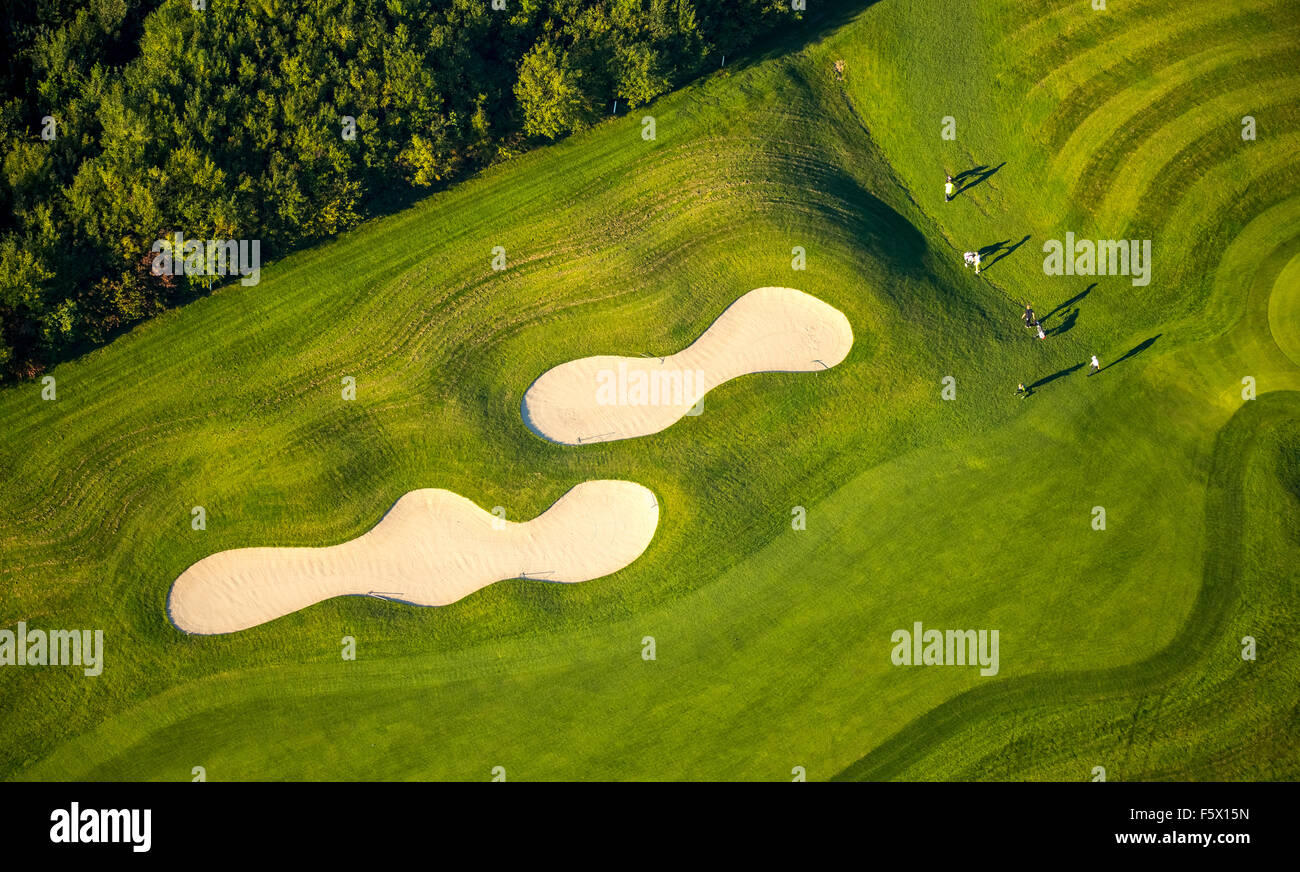 Bunker with golfers and Green, Golf & More Duisburg, Duisburg Huckingen, Golf Course Duisburg, Duisburg, Ruhr - Stock Image