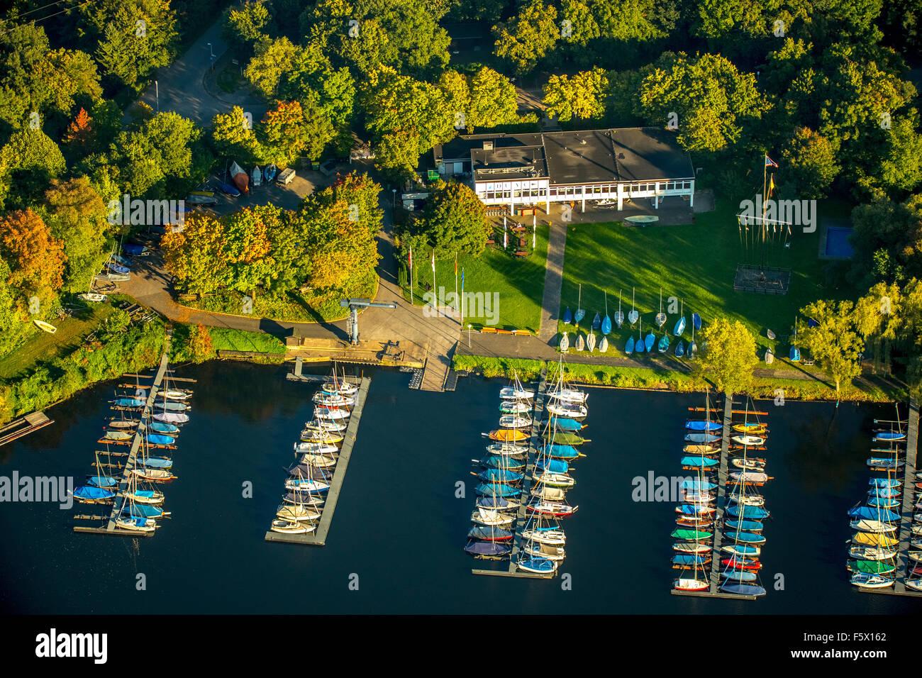 Sailing club, clubhouse, sailboat investors Masurensee, six-Seen-Platte Duisburg, Duisburg, Ruhr area, Nordrhein - Stock Image