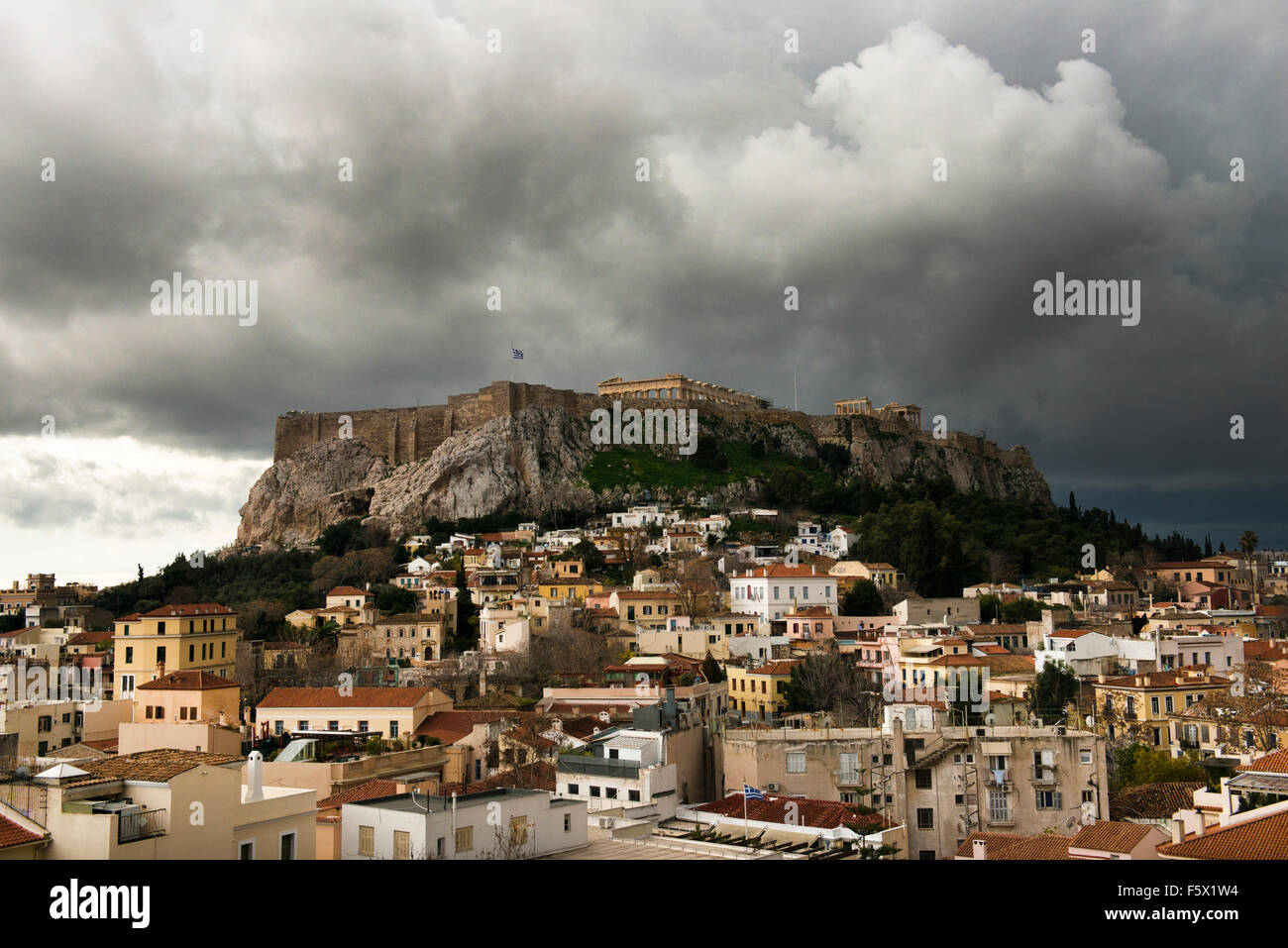 Stormy weather over Athens's Acropilis and plaka (old  town). - Stock Image