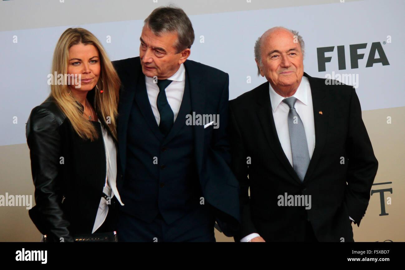 Marion Popp, Wolfgang Niersbach, Sepp Blatter - Premiere des Films ueber den gewinn der Fussball Weltmeisterschaft - Stock Image