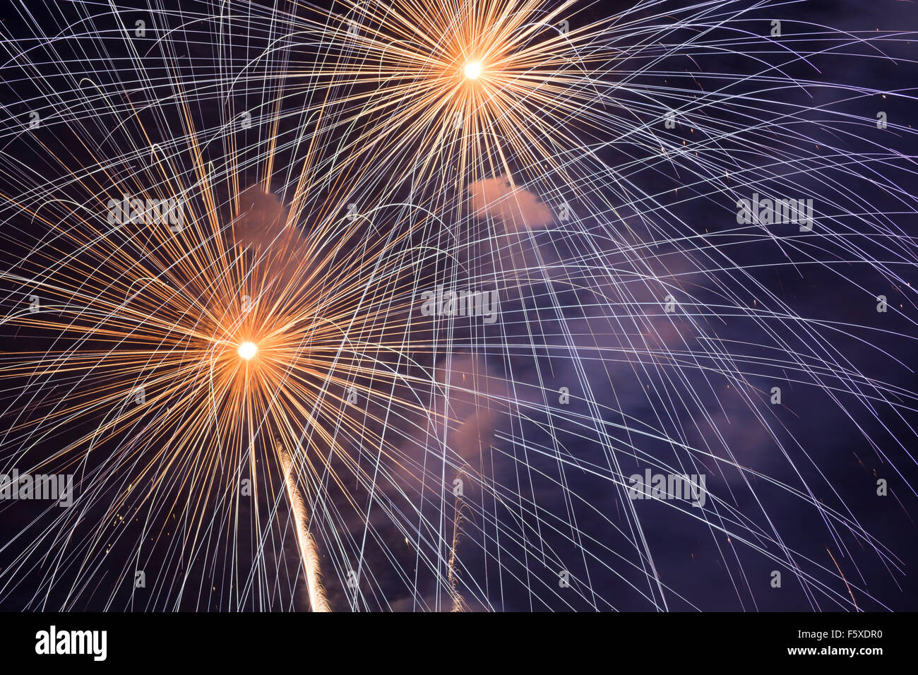 Freedom Fireworks display performed at Redding Convention Center in Redding, CA on 4th of July - Stock Image