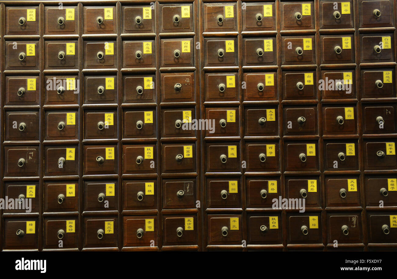 A Traditional Chinese Medicine Cabinet With Many Drawers Holding Herbs And  Animal Parts.   Stock