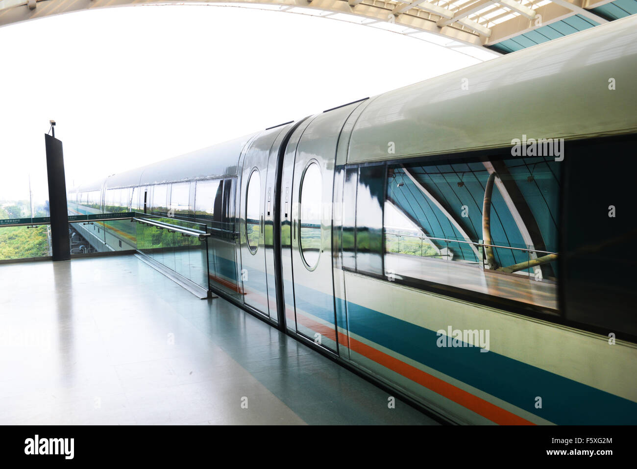 The Maglev train in Shanghai. - Stock Image