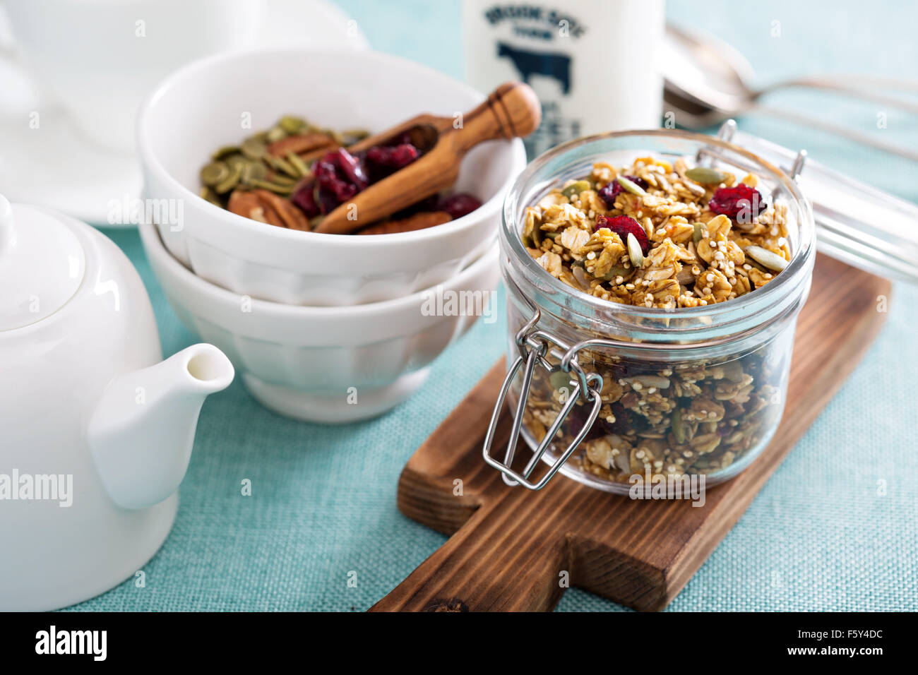 Homemade granola with quinoa and dried cranberry - Stock Image