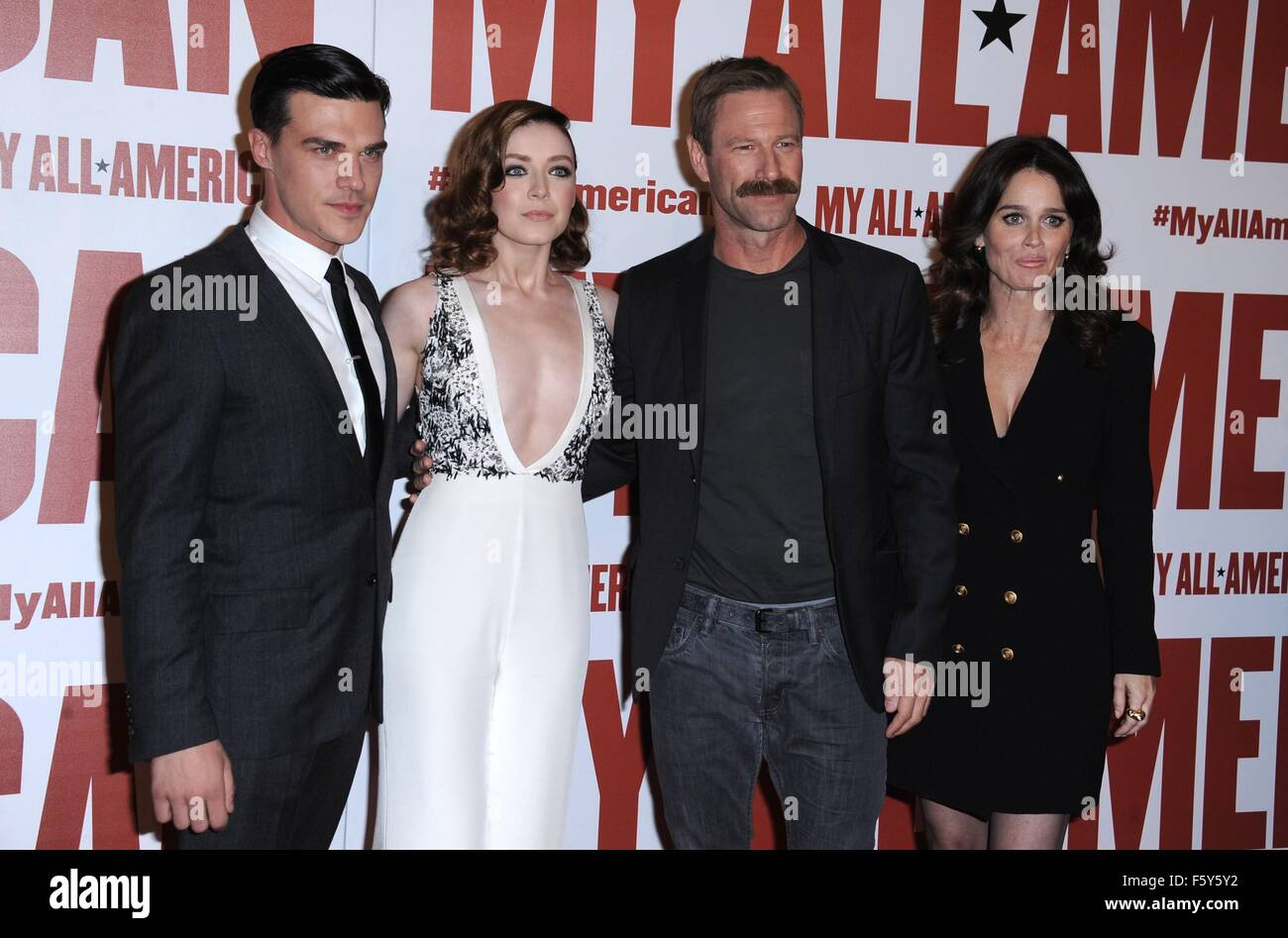 Finn Wittrock Sarah Bolger Aaron Eckhart Robin Tunney At Arrivals For MY ALL AMERICAN Premiere The Grove Los Angeles CA November 9 2015