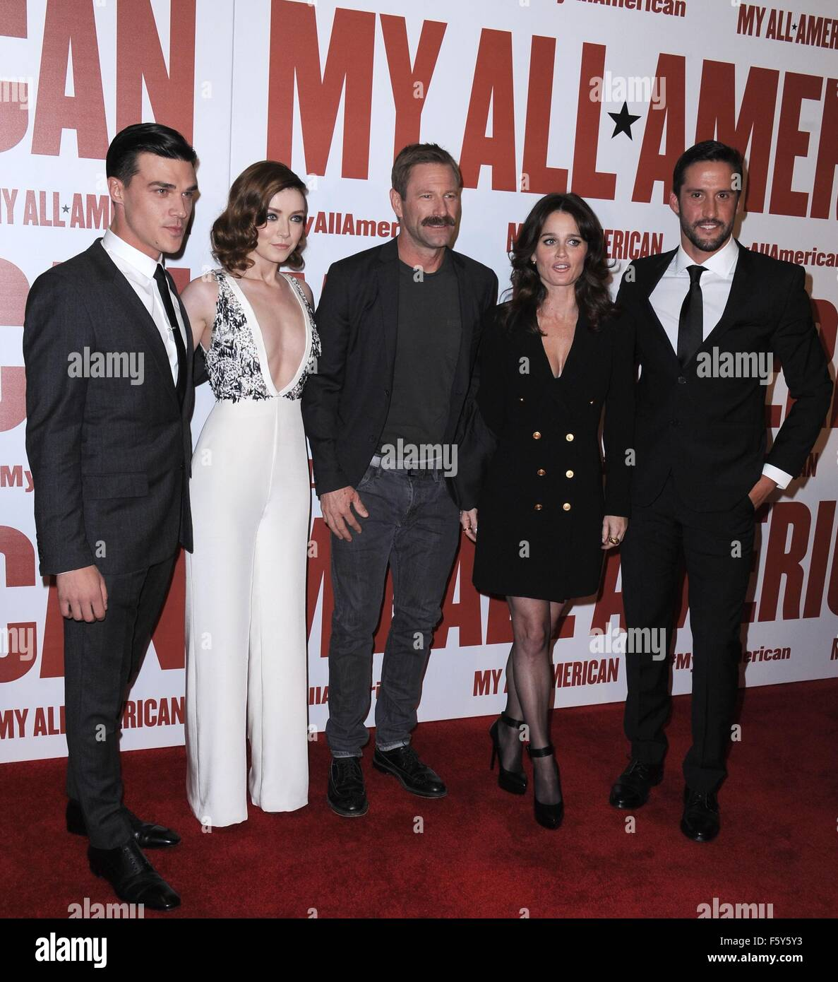 Finn Wittrock Sarah Bolger Aaron Eckhart Robin Tunney Juston Street At Arrivals For MY ALL AMERICAN Premiere The Grove Los Angeles CA November 9