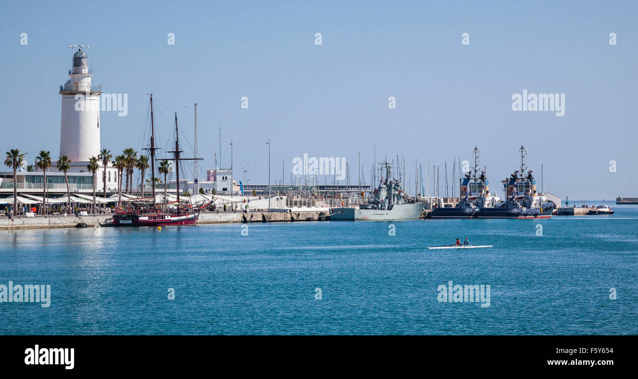 view of La Farola, the lighthouse of the Port of Malaga, Costa del Sol, Andalusia, Spain Stock Photo