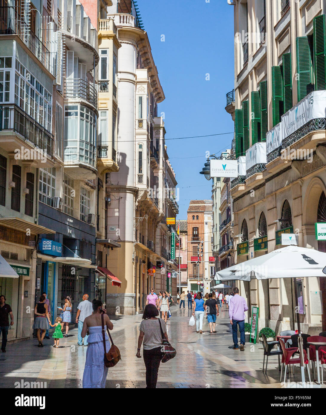 pedestrian mall at Calle Especeria in the historic center of Malaga, Andalusia, Spain - Stock Image