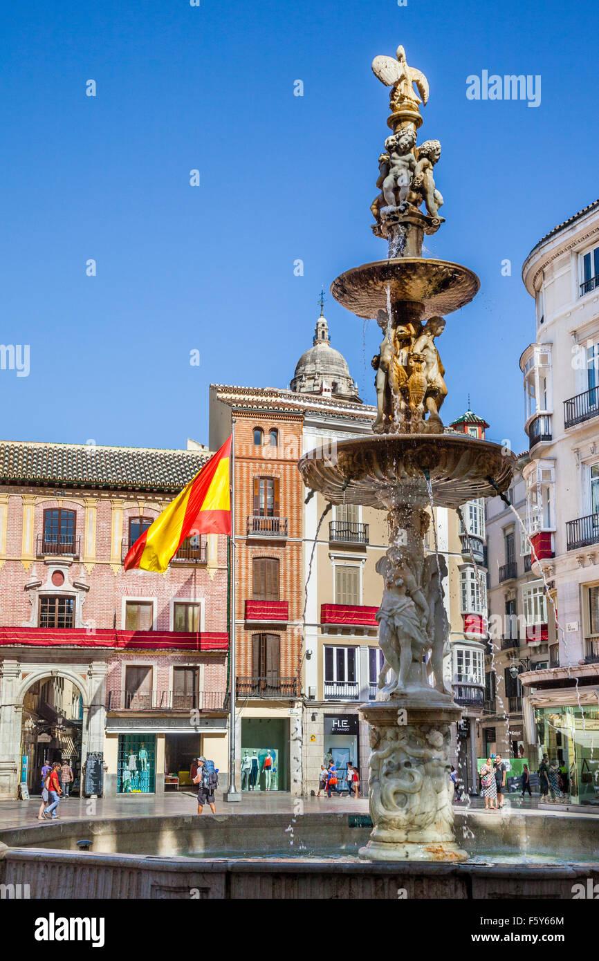 Genoa Fountain on Plaza de la Constitucion in the historic center of Malaga, Andalusia, Spain - Stock Image