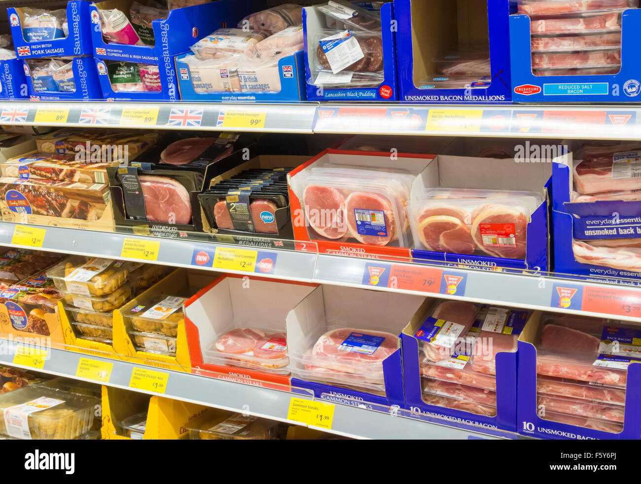 Bacon in Aldi supermarket. England, UK - Stock Image