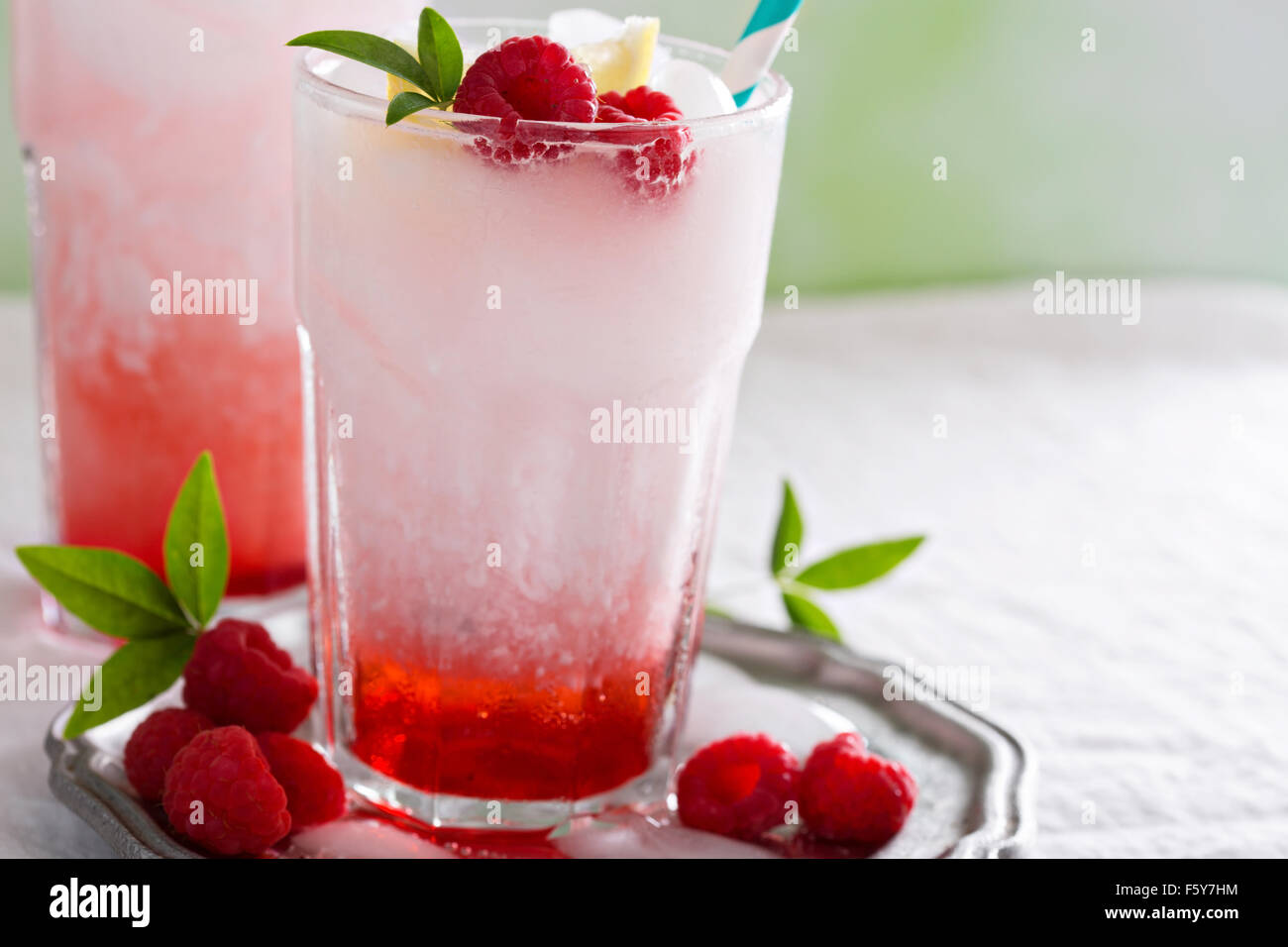 Italian soda drink with berry syrup and coconut milk - Stock Image