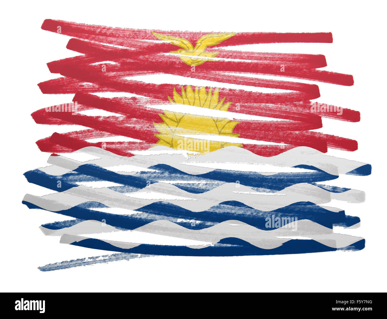 Flag illustration made with pen - Kiribati - Stock Image