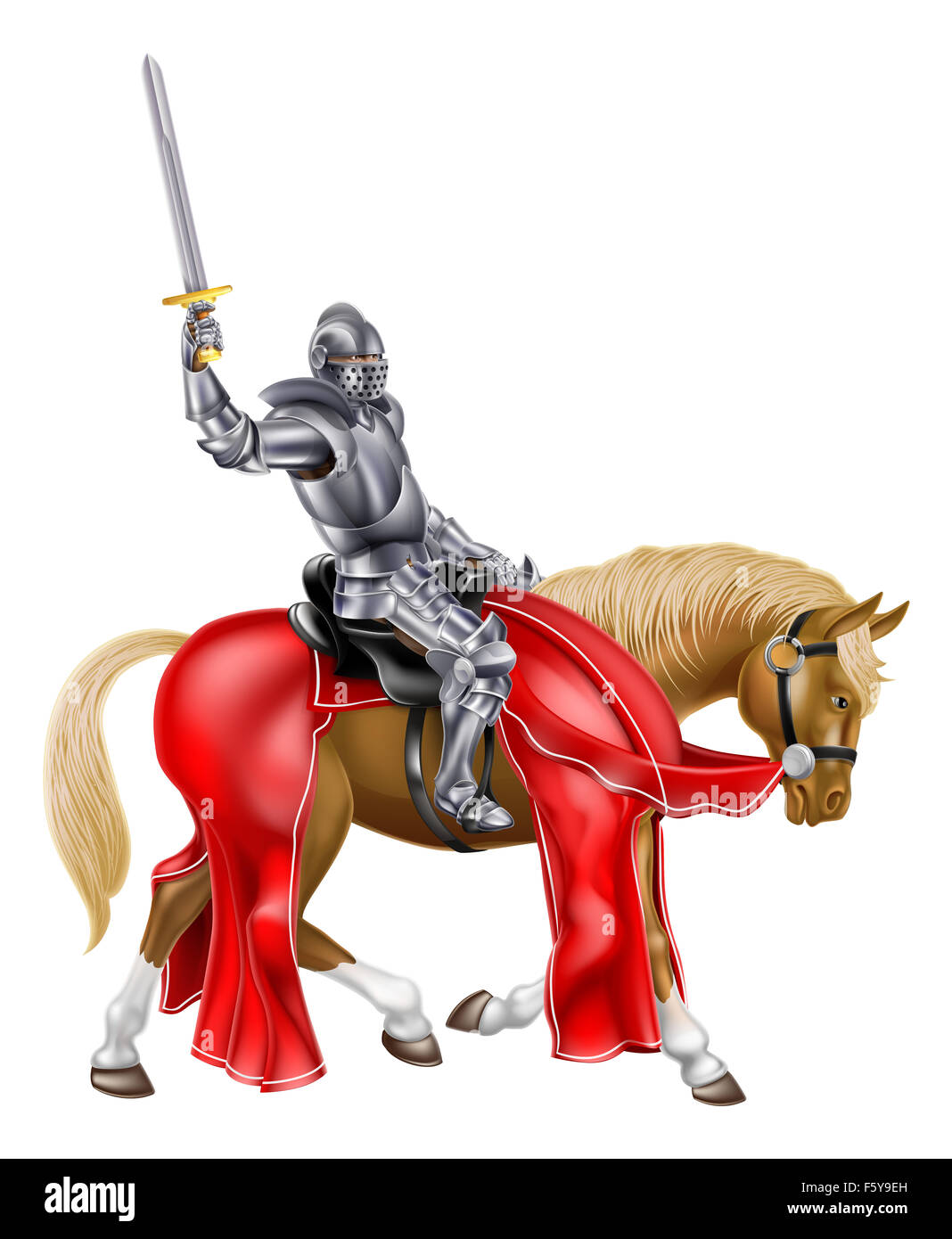 A medieval knight in armour on a horse holding a sword in the air ...