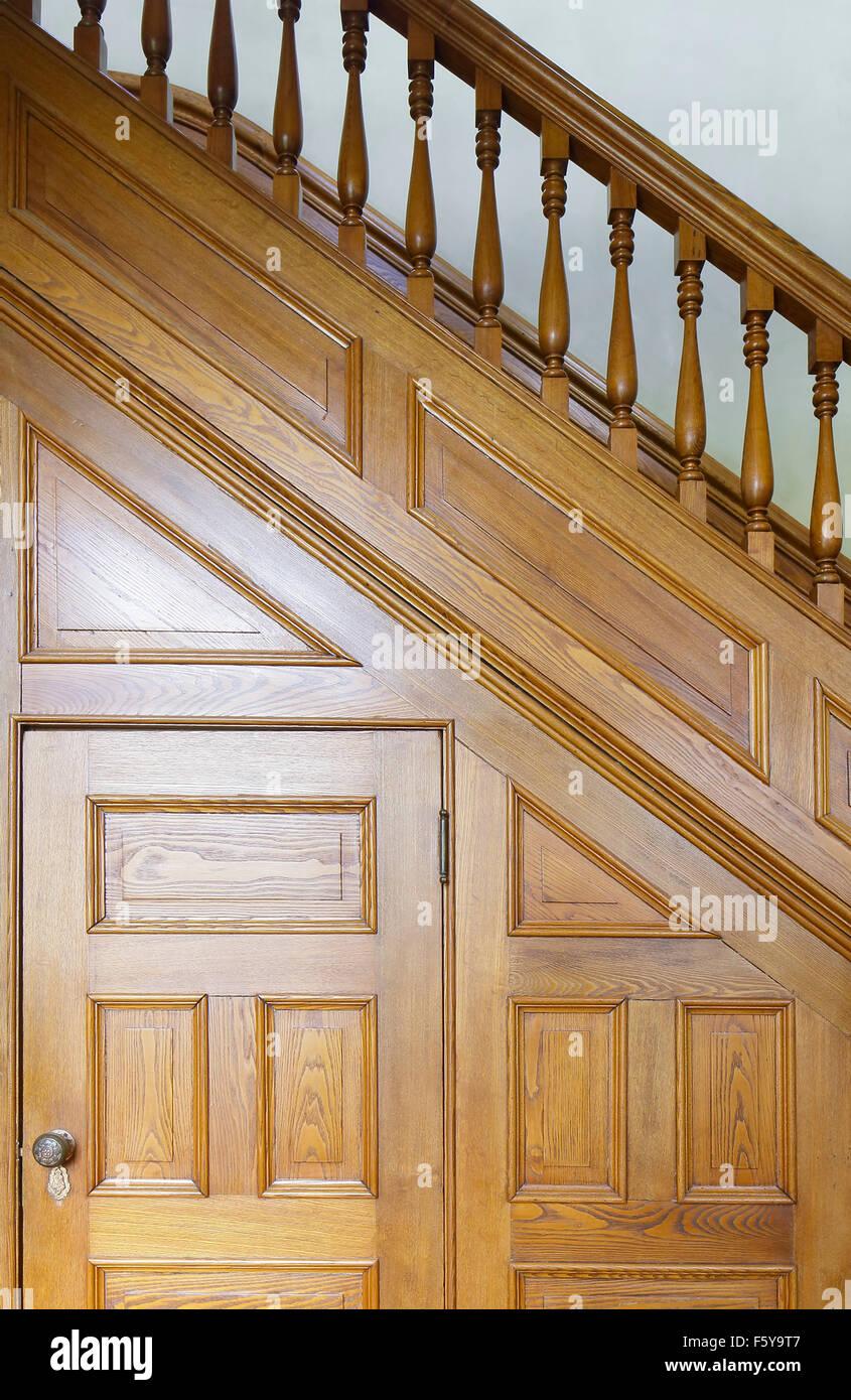 Front entrance hall staircase detail. Clifton Place, Irvington, United States. Architect: Detlef Lienau, 1852. Stock Photo