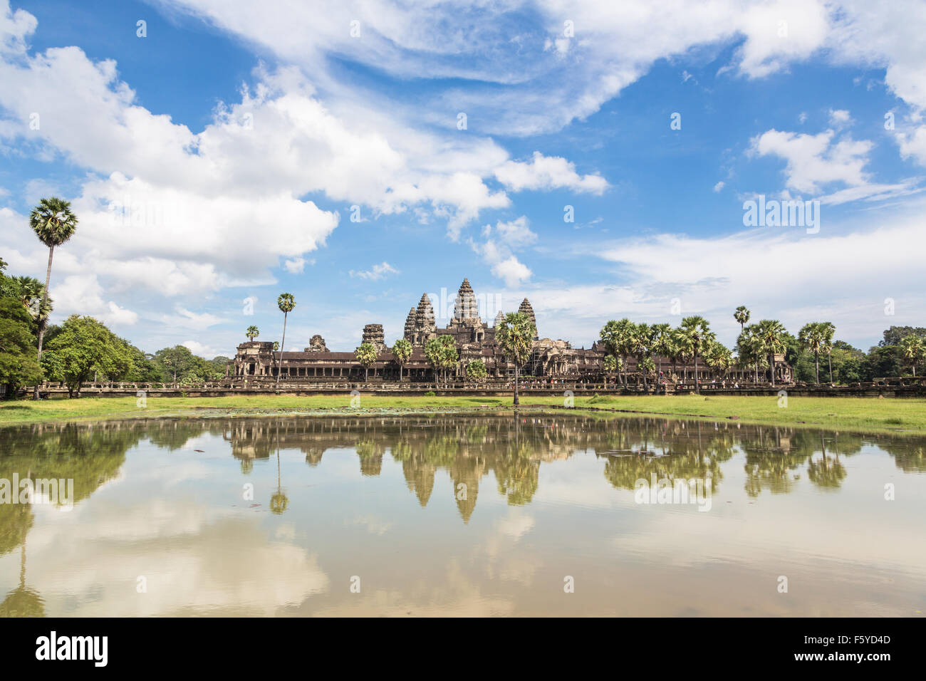 Angkor Wat is part of a stunning complex of temples and other monument near Siem Reap in Cambodia. Stock Photo