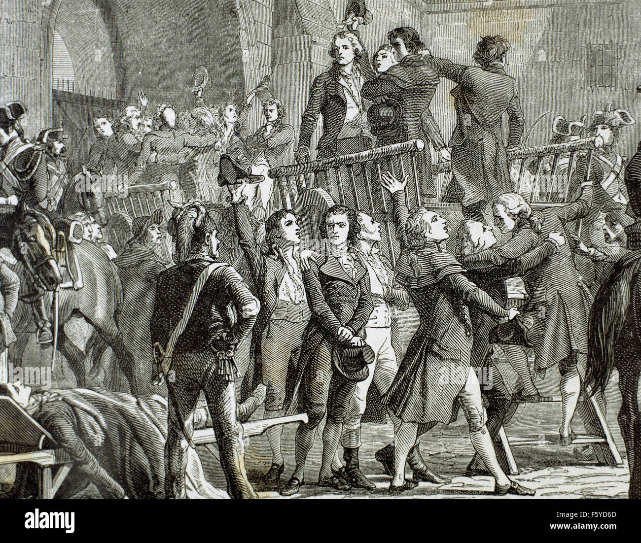 French Revolution. 1789. The Girondins out of prison to go to the gallows. Engraving, 19th century. - Stock Image