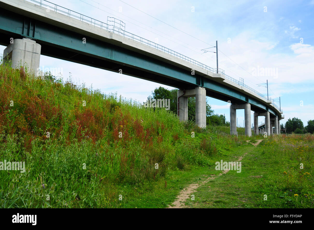 Railway flyover on the north side of Hitchin, Hertfordshire, England, UK - Stock Image