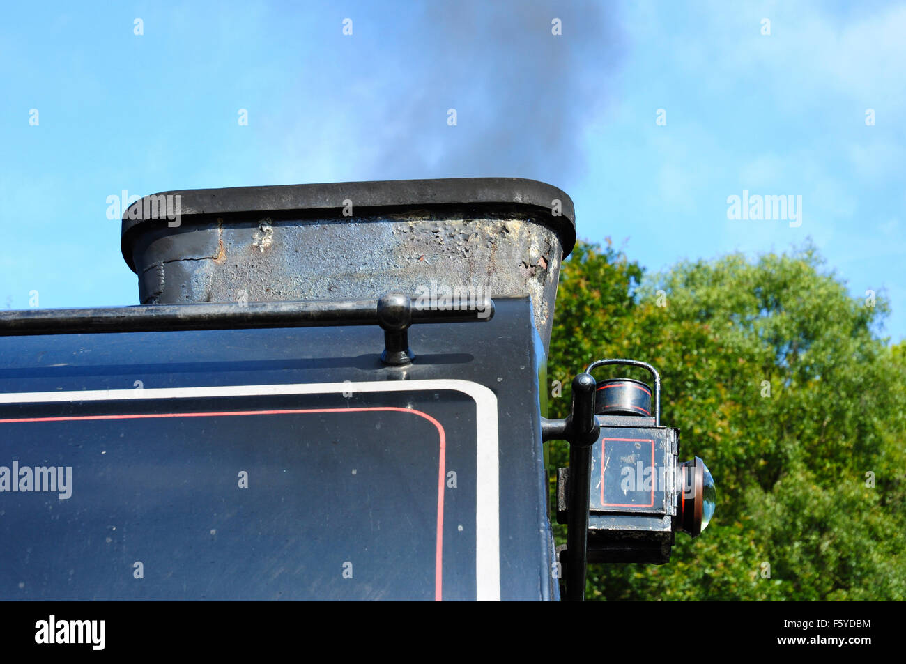 Close up of the chimney for the Giesl oblong ejector on saddle tank 'Repulse' on the Lakeside & Haverthwaite - Stock Image