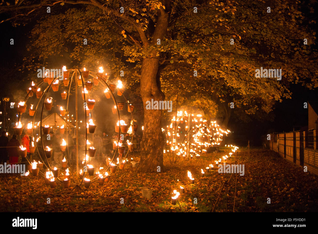 The Diwali light 'switch on' on the Belgrave Road, Leicester. The Festival of Light attracts upwards of - Stock Image