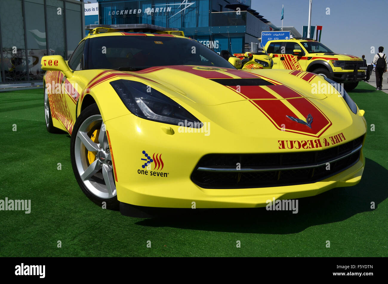 Dubai, UAE. 10th November, 2015. Hot Rod: Dubai Civil Defence are using a brght yellow V8-powered Chevrolet Corvette - Stock Image