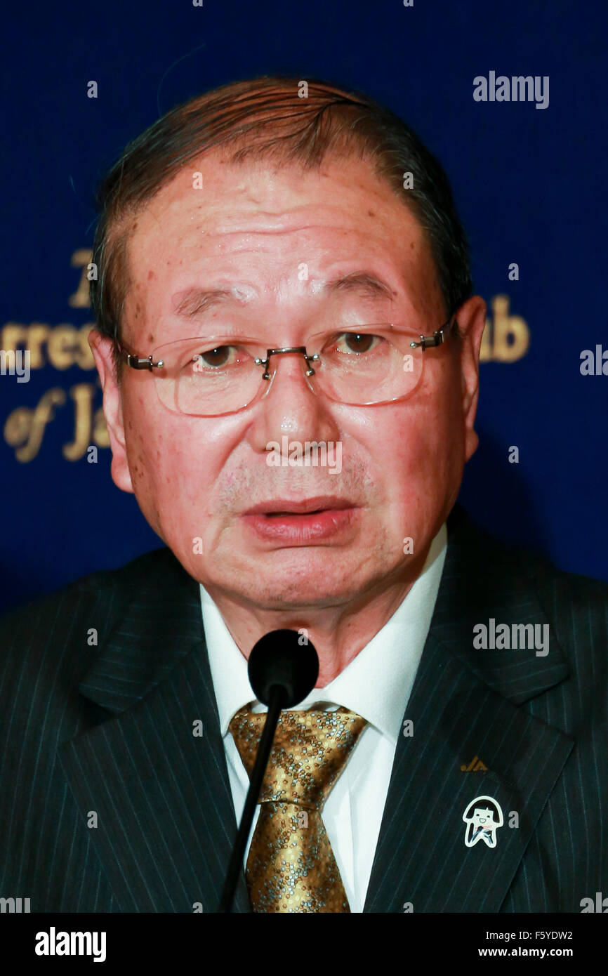 Choe Okuno President of JA Zenchu (the Japanese Central Union of Agricultural Co-operatives) speaks during a press - Stock Image