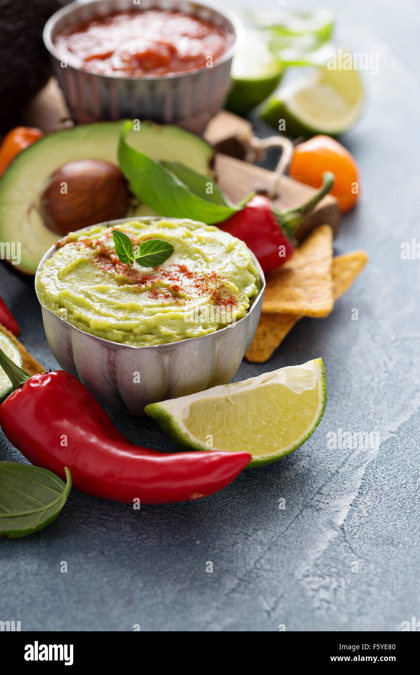 Mexican cuisine ingredients and guacamole copy space on gray - Stock Image