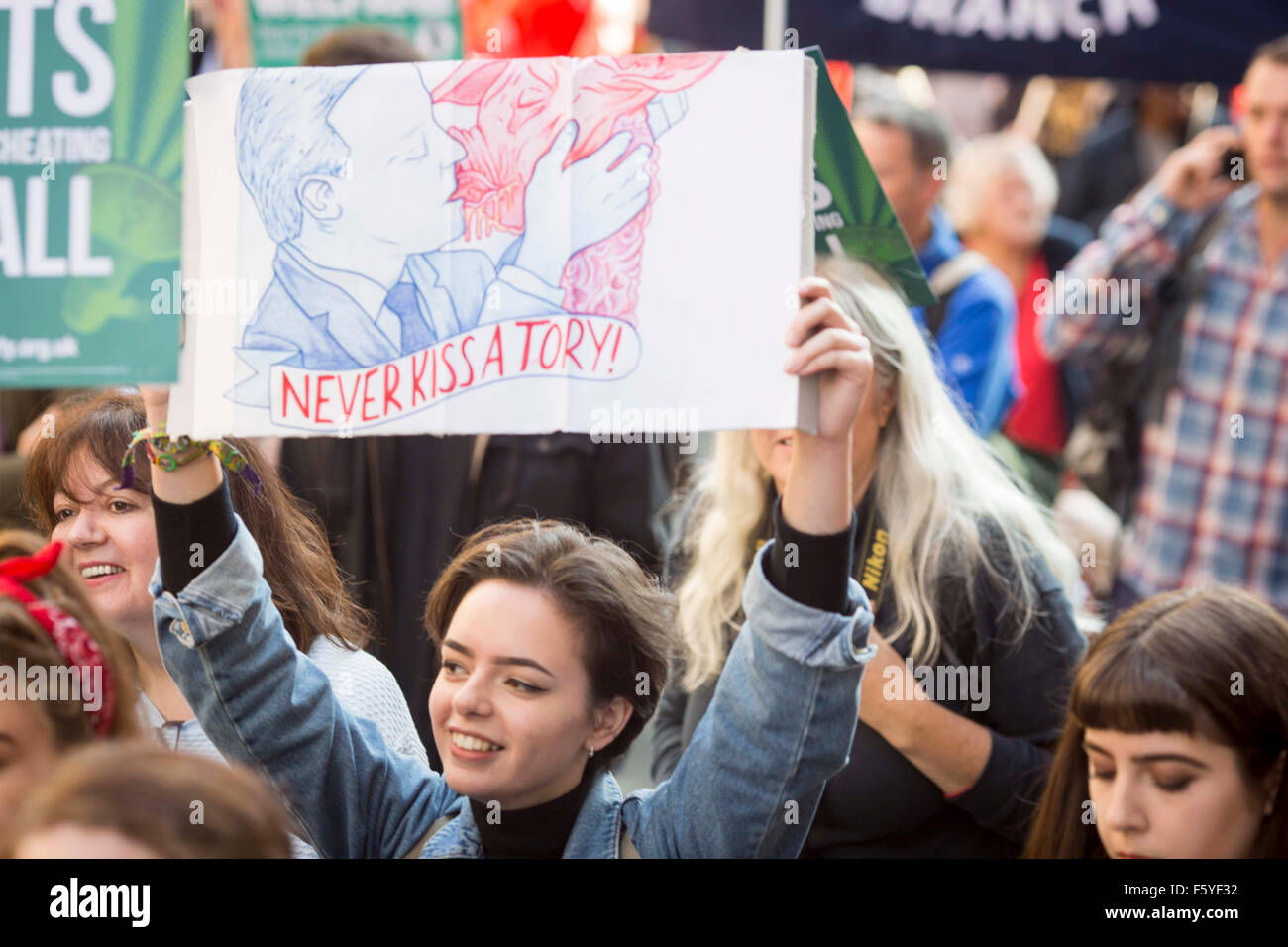 Manchester anti-austerity protest rally - Stock Image