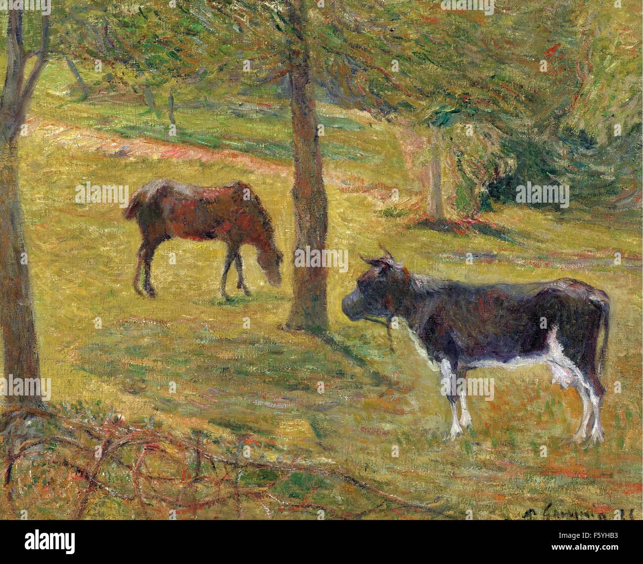 Paul Gauguin - Vache et Cheval dans un Pré - Stock Image