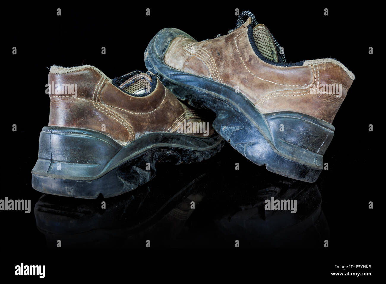 These safety shoes are also working shoes - Stock Image