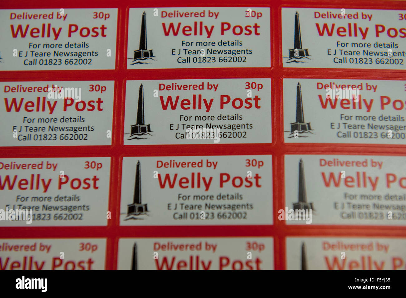 the stamps act as another means to advertise the service and spread the word .   The Welly Post , Wellington , Somerset - Stock Image