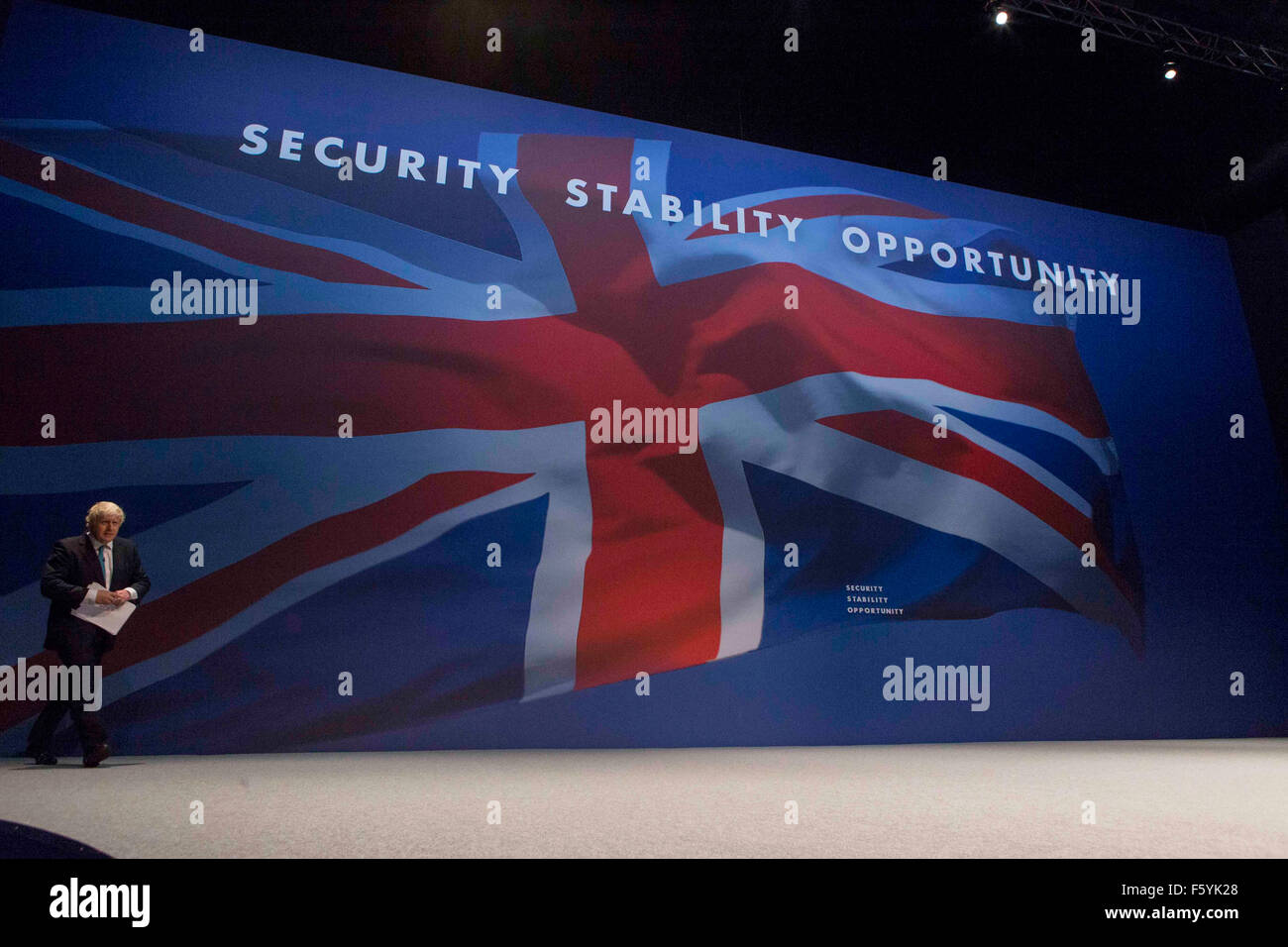Mayor of London Boris Johnson on stage giving his speech during Conservative Party Conference , Manchester , October - Stock Image